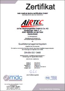 AirTec Zertifikat DIN EN ISO 13485